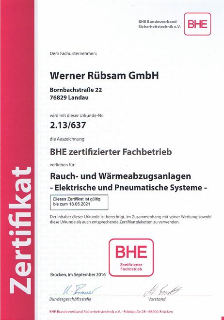 BHE-Zertifikat