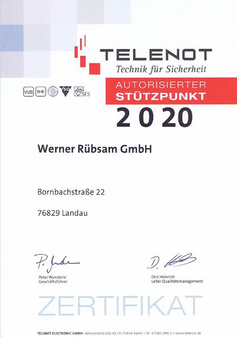 Telenot Zertifizierung