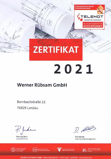 Zertifikat Telenot 2021